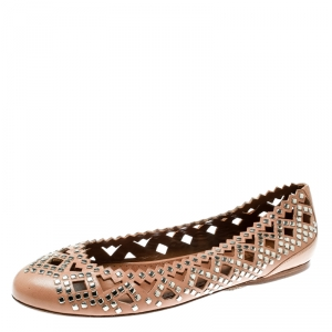 Alaia Beige Studded Cut Out Leather Ballet Flats Size 38