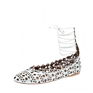 Alaia White Cutout Leather Lace Up Ballet Flats Size 38.5