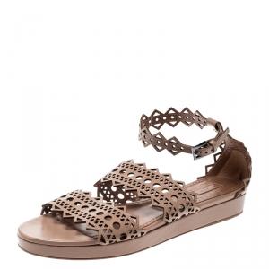 Alaia Beige Laser Cut Ankle Strap Flat Sandals Size 40