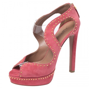 Azzedine Alaia Pink Suede And PVC Studded Peep Toe Platform Sandals Size 38 -