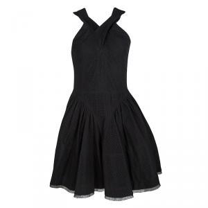 Alaia Black Eyelet Embroidered Cotton Cross Back Sleeveless Dress L - used