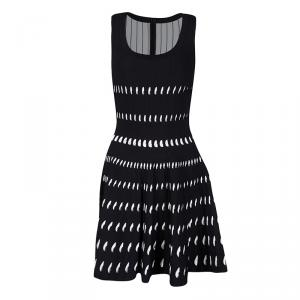 Alaia Monochrome Cutout Detail Sleeveless Skater Dress S