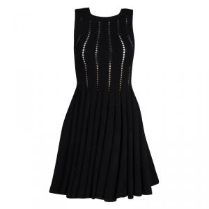 Alaia Black Cutout Detail Knit Sleeveless Fit and Flare Dress S