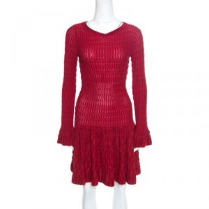 Alaia Red Chenille Wool Patterned Long Sleeve Skater Dress M