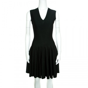Alaia Black and Green Lurex Knit V Neck Sleeveless Fit and Flare Dress M - used
