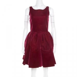 Alaia Burgundy Velvet Sleeveless Gathered Dress M - used