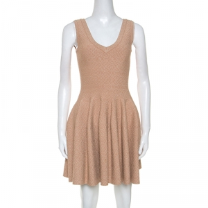 Alaia Beige Jacquard Knit Sleeveless Skater Dress S