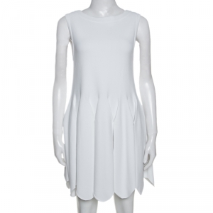 Alaia White Stretch Knit Pleated Scalloped Hem Detail Dress M - used