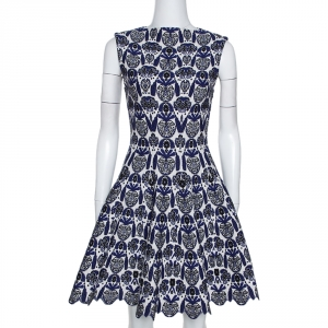 Alaia Blue and White Wool Jacquard Knit Scalloped Hem Dress S