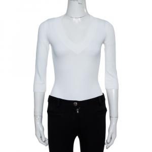 Alaia White Jersey V-Neck Bodysuit M