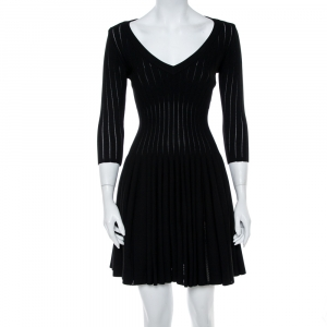 Alaia Black Perforated Rib Knit Fit & Flare Dress M