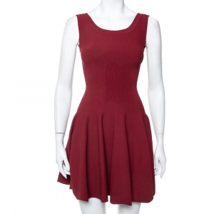 Alaia Burgundy Knit Sleeveless Skater Dress S - used