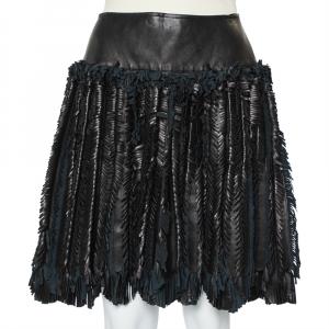 Alaia Black Leather Fringed Detail Mini Skirt M