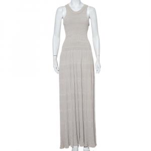 Alaia Ecru Rib Knit Cutaway Sleeve Maxi Dress S - used