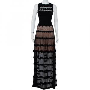 Alaia Black Perforated Knit Sleeveless Maxi Dress S - used