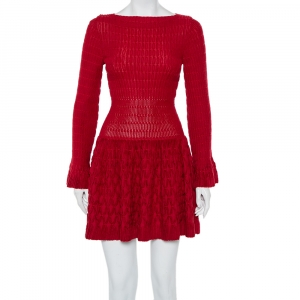 Alaia Red Chenille Wool Patterned Long Sleeve Skater Dress M - used