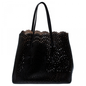 Alaia Black Leather Laser Cut Mina Tote