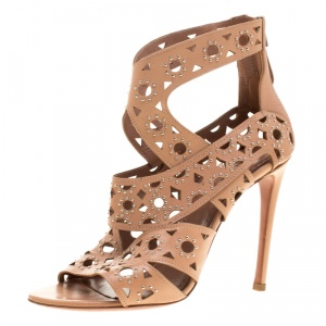 Alaia Beige Studded Leather Peep Toe Cutout Sandals Size 36