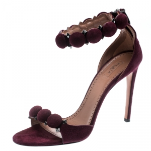 Alaia Burgundy Suede Bombe Stud Embellished Open Toe Sandals Size 39
