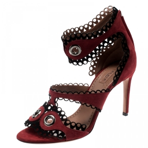 Alaia Maroon Suede Scallop Trim Eyelet Embellished Ankle Cuff Sandals Size 38