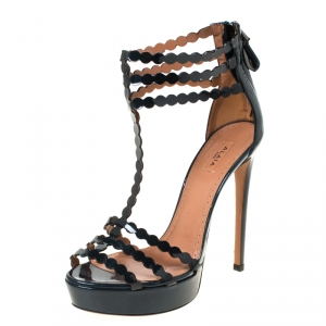 Alaia Dark Green Laser Cut  Leather T Strap Platform Sandals Size 37.5