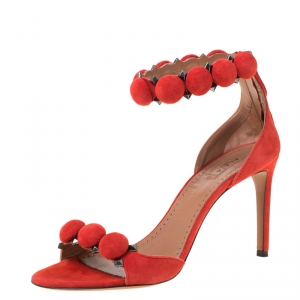 Alaia Red Suede Bombe Stud Embellished Open Toe Sandals Size 38.5