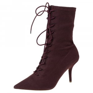 Yeezy Season 5 Burgundy Stretch Canvas Lace Up Pointed Toe Boots Size 39.5 - used