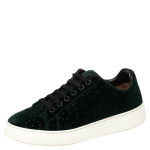 Alaia Green Velvet Laser Cut Lace Up Sneaker Size 36