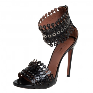 Alaia Black Leather Grommets Ankle Cuff Sandals Size 38