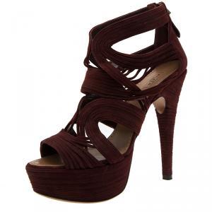 Azzedine Alaia Burgundy Suede Wave Cut Out Platform Sandals Size 39.5