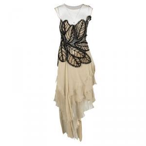 Alberta Ferretti Beige Applique Detail Layered Organdy Embroidered Dress L