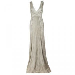 Alberta Ferretti Grey Embellished Crinkled Tulle Sleeveless Gown L