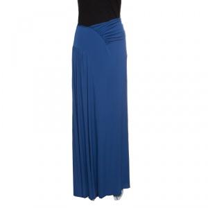 Alberta Ferretti Blue Draped Jersey Maxi Skirt L