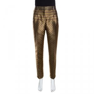 Alberta Ferretti Dull Gold Patterned Jacquard High Waist Tapered Trousers M