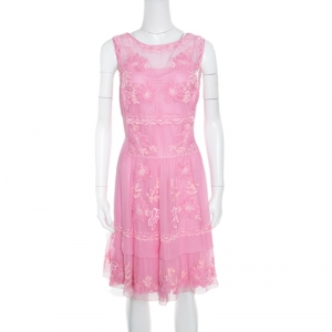Alberta Ferretti Pink Hand Embroidered Silk Sleeveless Dress L