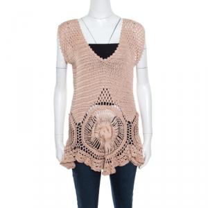 Alberta Ferretti Beige Cotton Open Weave Crochet Sleeveless Flared Top L