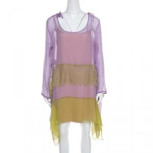 Alberta Ferretti Purple and Green Silk Lace Panel Insert Asymmetric Dress L