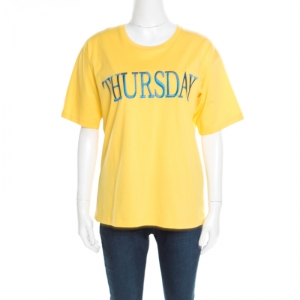 Alberta Ferretti Yellow Cotton Thursday Embroidered T-Shirt M