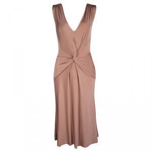 Alberta Ferretti Blush Pink Twist Front Detail Sleeveless Dress S