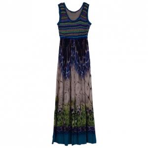 Alberta Ferretti Multicolor Printed Silk And Knit Maxi Dress S