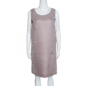 Alberta Ferretti Purple Crinkled Silk Textured Applique Detail Sleeveless Dress M - used