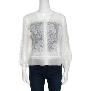 Alberta Ferretti Limited Edition Off White Lace and Silk Sheer Long Sleeve Blouse L