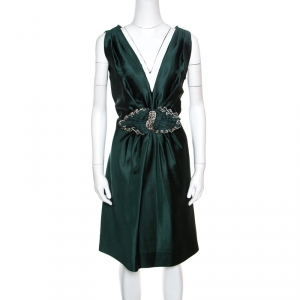 Alberta Ferretti Green Crystal Embellished Waist Detail Sleeveless Dress M - used