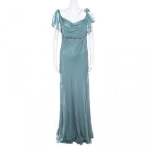 Alberta Ferretti Pale Green Crystal Embellished Flutter Sleeve Silk Evening Gown L