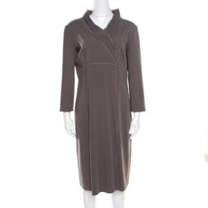Alberta Ferretti Grey Wool Blend Topstitch Detail Long Sleeve Sheath Dress L - used