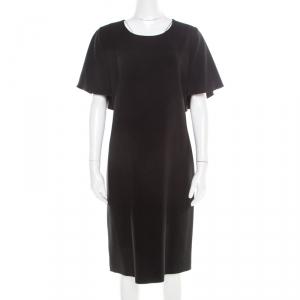 Alberta Ferretti Black Crepe Knit Draped Sleeve Shift Dress M - used