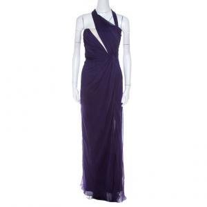 Alberta Ferretti Purple Ruched Silk One Shoulder Evening Gown S - used