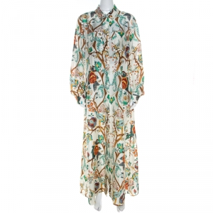 Alberta Ferretti Multicolor Floral Printed Silk Maxi Shirt Dress L