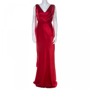 Alberta Ferretti Red Silk Bow Tie Detail Draped Evening Gown M