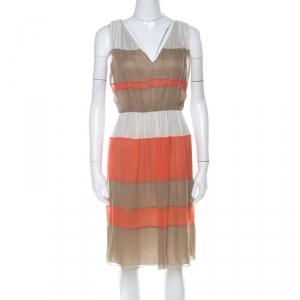 Alberta Ferretti Colorblock Striped Silk Pleated Sleeveless Dress M used